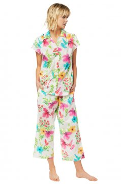 The Cat's Pajamas Women's Tropicana Luxe Pima Capri Pajama Set