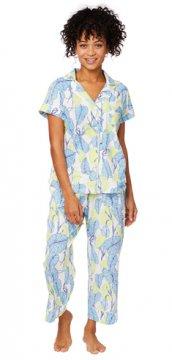 The Cat's Pajamas Women's West Palm Pima Knit Capri Pajama Set