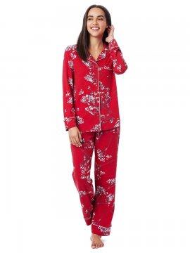 The Cat's Pajamas Women's Willow Cerise Pima Knit Classic Pajama Set