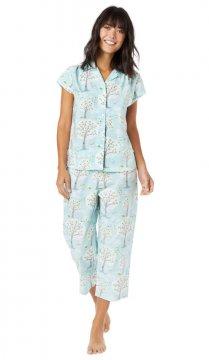 The Cat's Pajamas Women's Windy Morning Poplin Cotton Capri Pajama Set in Blue
