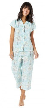 The Cat's Pajamas Women's Windy Morning Poplin Cotton Capri Pajama Set in Blue