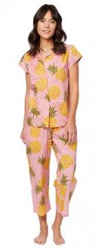 The Cat's Pajamas Women's Pink Pineapple Luxe Pima Cotton Capri
