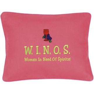 """W.I.N.O.S"" Hot Pink Embroidered Pillow"