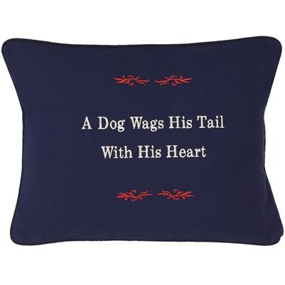 """""""A Dog Wags His Tail With His Heart"""" Navy Blue Embroidered Gift Pillow"""