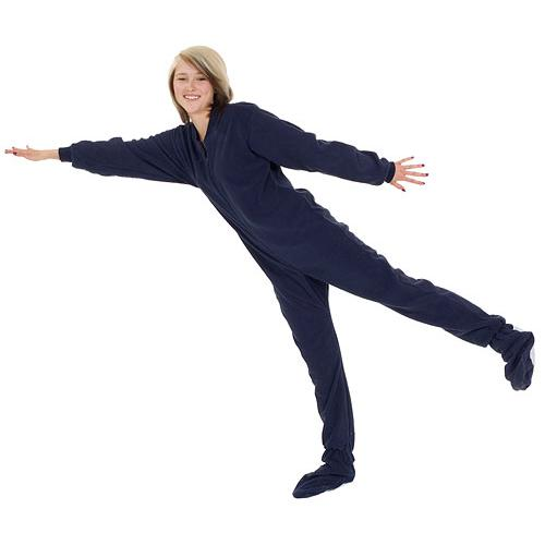 Kids Big Feet Pajamas Navy Fleece One Piece Footy