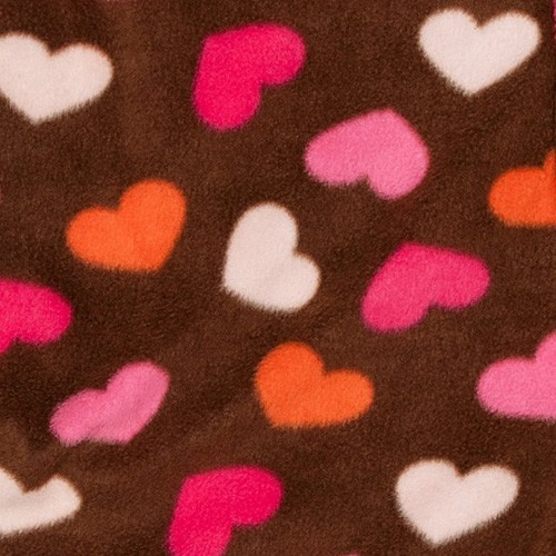 "Big Feet Pajamas Chocolate Brown ""Hearts"" Fleece One Piece Footy"