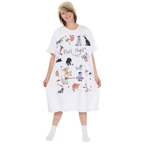 Little Blue House by Hatley Ruff Night Women's Nightshirt in White