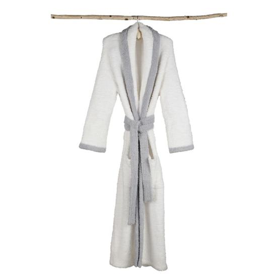 Barefoot Dreams Cozy Chic Contrast Trim Robe in White with Ocean