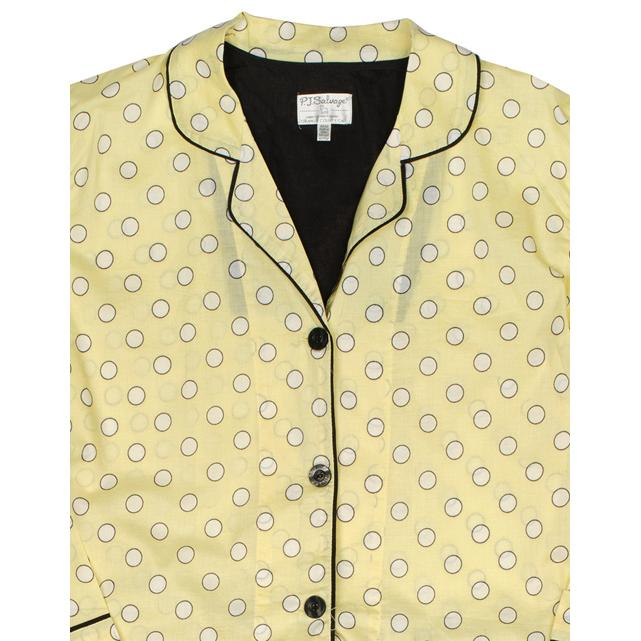 "PJ Salvage Women's ""Dots"" Cotton Pajama Set in Lemon"