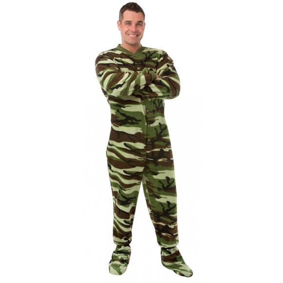 Big Feet Pajamas Adult Green Camouflage Fleece One Piece Footy