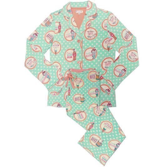 "PJ Salvage Women's ""Soda Pop"" Playful Print Cotton Pajama Set in Mint"