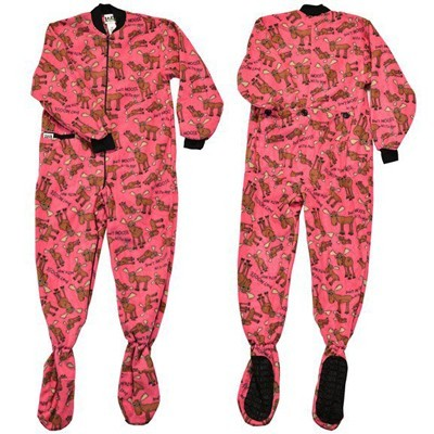 Lazy One Don't Moose With Me Adult Footie in Pink