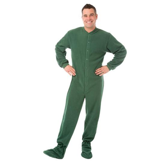 Big Feet Pajamas Adult Hunter Green Fleece One Piece Footy
