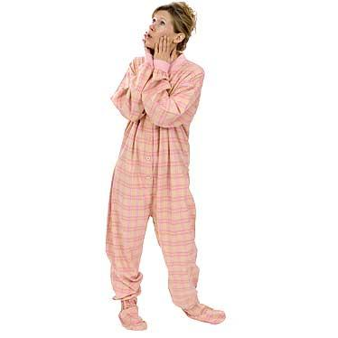 Big Feet Pajamas Adult Yellow and Pink Plaid Flannel One Piece Footy